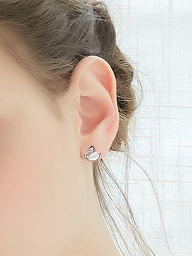 Fashion Swarovski Crystal Swan Stud Earrings
