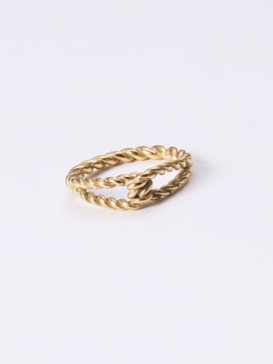 Titanium With Gold Plated Simplistic  Hollow Geometric Band Rings