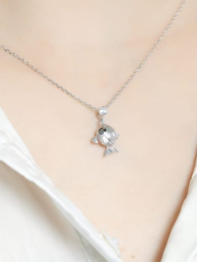 925 Sterling Silver With  Cubic Zirconia Personality goldfish Necklaces
