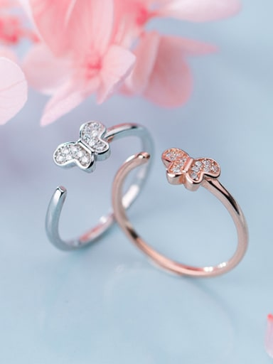 925 Sterling Silver With Cubic Zirconia Simplistic Butterfly free Size Rings