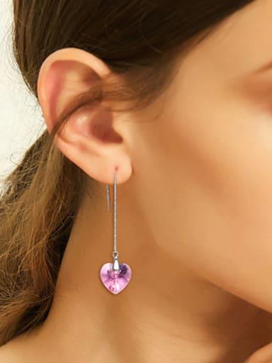 Simple Heart shaped Swarovski Crystal Line Earrings