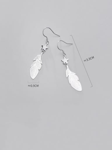 925 Sterling Silver With Platinum Plated Simplistic Feather Hook Earrings