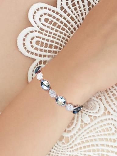 Fashion Oval Swarovski Crystals Zircon Silver Bracelet