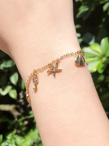 Copper With 18k Gold Plated Delicate Marine life, shells, starfish Bracelets