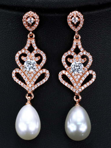 Copper impregnated zircon imitation pearl luxury bride Earrings