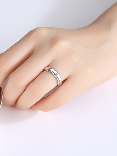 925 Sterling Silver With Platinum Plated Simplistic Round Band Rings