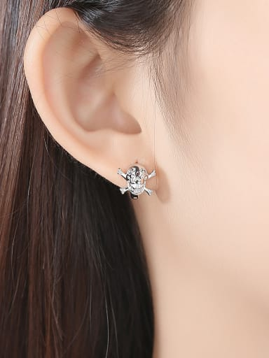 Copper With White Gold Plated Punk Skull Stud Earrings