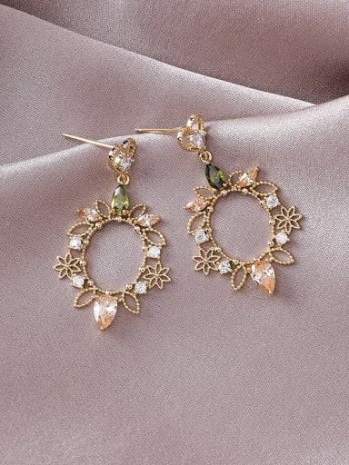 Alloy With Gold Plated Fashion Hollow  Flower Drop Earrings