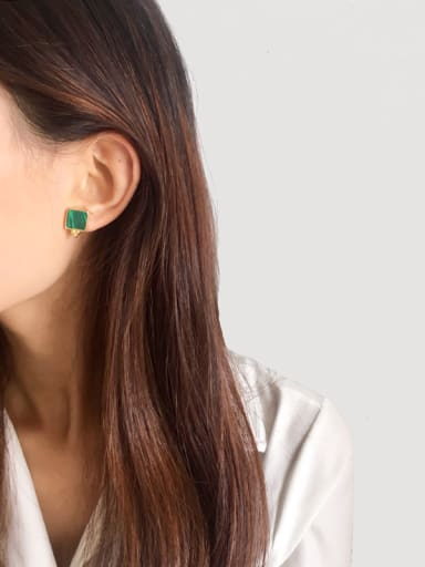 Copper With Gold Plated Simplistic Malachite Square Stud Earrings