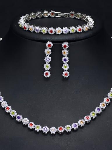 Luxury Shine  High Quality Zircon Round Necklace Earrings bracelet 3 Piece jewelry set