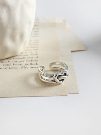 925 Sterling Silver With Silver Plated Vintage Heart Free size  Rings