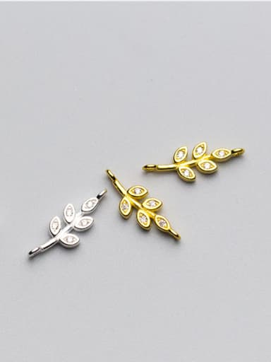925 Sterling Silver With 18k Gold Plated Delicate Leaf Connectors