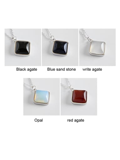 Sterling Silver geometric square Agate Necklace