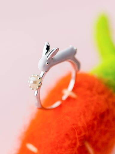 925 Sterling Silver With Silver Plated Cute Animal rabbit Rings