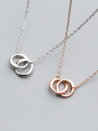 925 Sterling Silver With Rose Gold Plated Fashion Round Necklaces