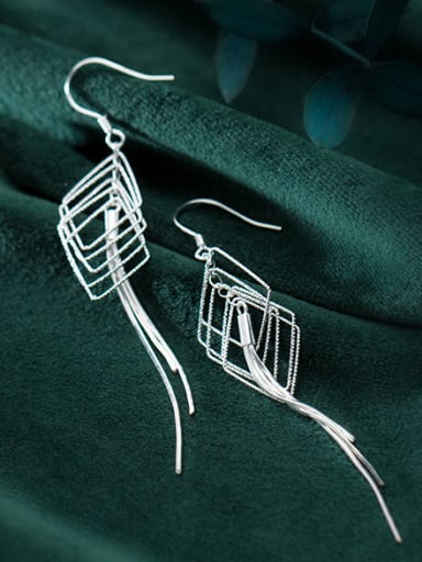 925 Sterling Silver With Platinum Plated Trendy Geometric Hook Earrings