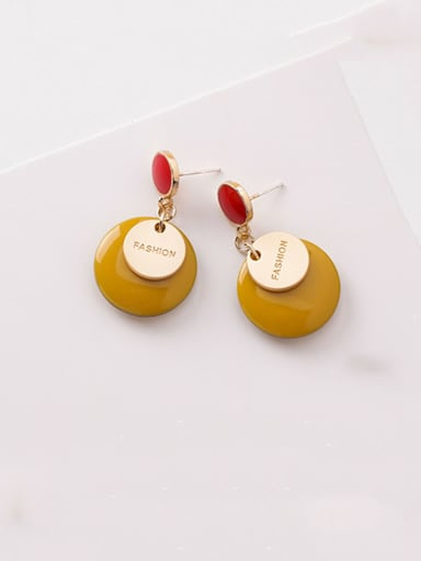 Alloy With Enamel Simplistic Round Drop Earrings