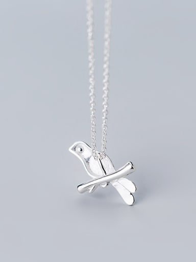 925 Sterling Silver With Silver Plated Personality Blue Bird Necklaces