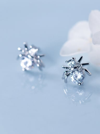 925 Sterling Silver With Silver Plated Personality Spider Stud Earrings