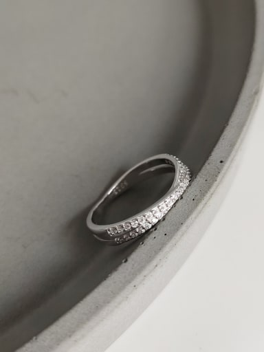 925 Sterling Silver With Platinum Plated Simplistic Irregular Midi Rings