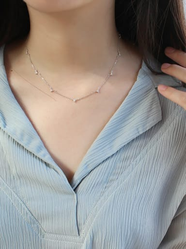 Simple Tiny Zircon-studded Triangles Silver Necklace
