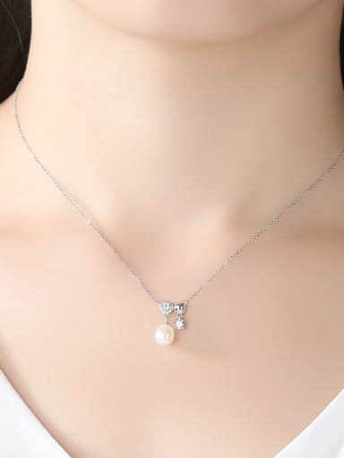 Sterling silver natural freshwater pearl AAA zricon necklace