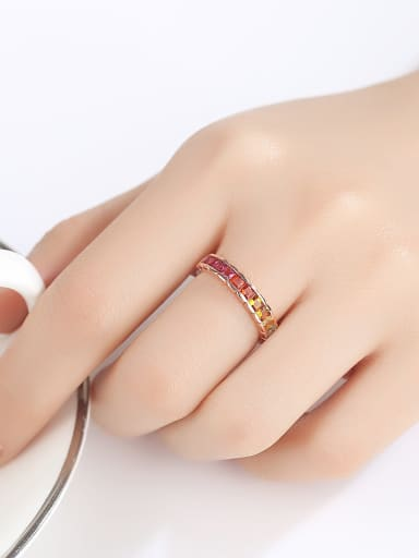 925 Sterling Silver With  Cubic Zirconia Simplistic Geometric Band Rings