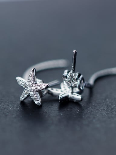 S925 Silver Sweet  zircon Star Stud threader earring