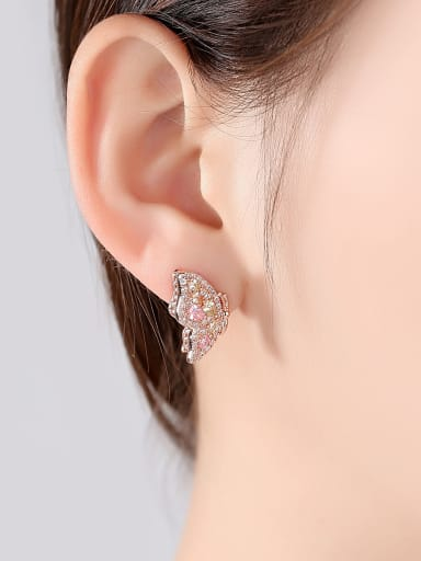Copper With Cubic Zirconia Romantic Butterfly Friendship Earrings