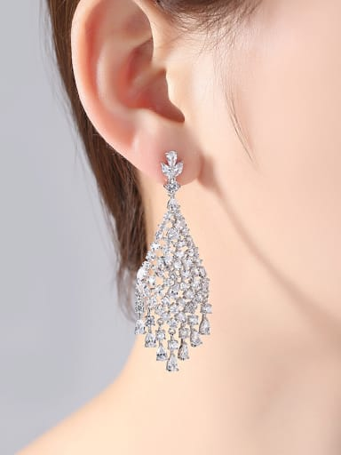 Copper With White Gold Plated Trendy Geometric Chandelier Earrings