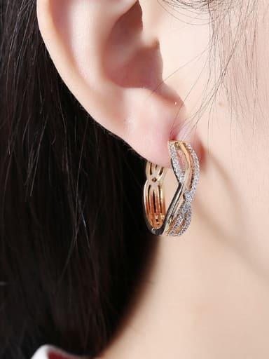 18K Gold Zircon hoop earring