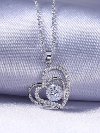 Copper With Cubic Zirconia Simplistic Hollow Heart Locket Necklace