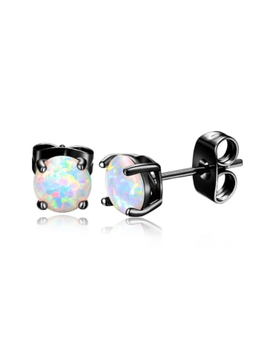 round-shaped White-Opal Gun back-plated earrings