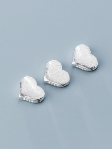 925 Sterling Silver With Smooth  Simplistic Heart  Beads