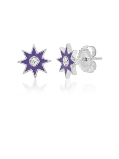 Copper With Platinum Plated Simplistic Star Stud Earrings