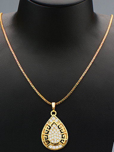 18K Water Drop Rhinestones Two Pieces Jewelry Set