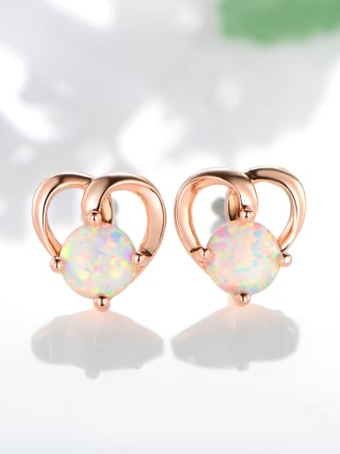 925 Sterling Silver With Opal Simplistic Heart Stud Earrings