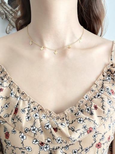 Pure silver gold Mini Cross Necklace