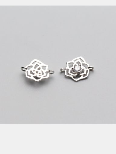 925 Sterling Silver With Silver Plated Cubic Zirconia roses Connectors