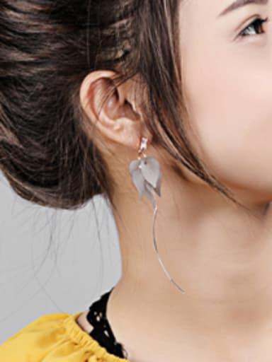Fashion Leaves Slim Line Drop Earrings
