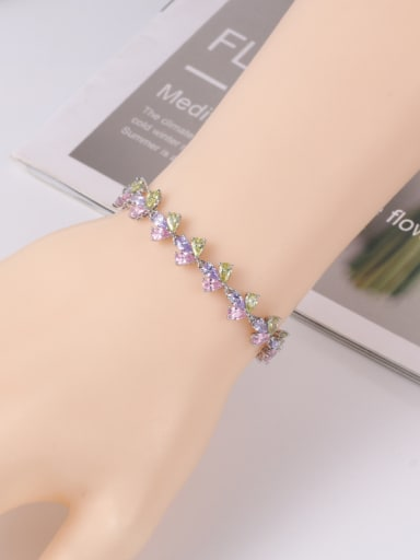 Copper With Platinum Plated Delicate Flower  Adjustable Bracelets
