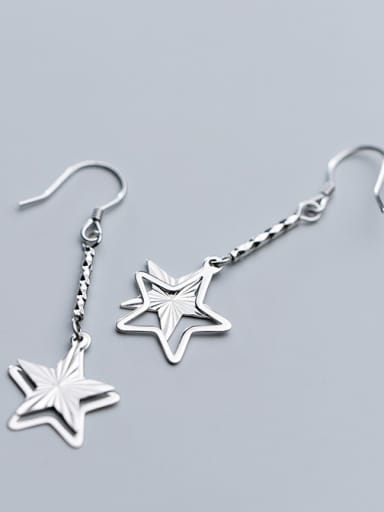 925 Sterling Silver With Platinum Plated Simplistic Hollow Pentagram Hook Earrings