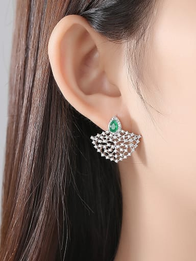 Copper inlaid cubic zirconia fan-shaped exaggerated earrings