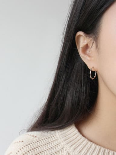 925 Sterling Silver With 18k Gold Plated Trendy Minimalist Hoop Earrings