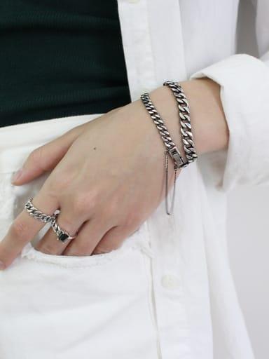 Pure silver fashion personality retro manual chain bracelet