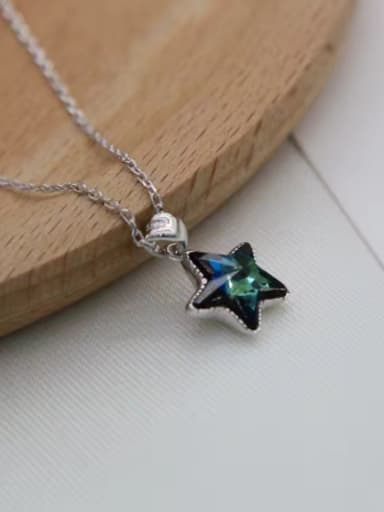 Temperament Blue Star Shaped Zircon Silver Pendant