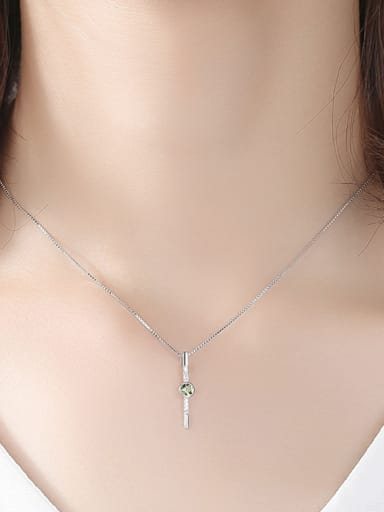 Sterling Silver Green Crystal with 3A Zircon Necklace