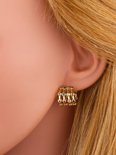 Copper With  Cubic Zirconia Personality Geometric Stud Earrings