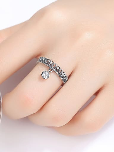 Thai Silver With  Cubic Zirconia  Vintage Geometric  Free Size Rings
