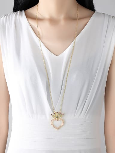 Copper With Gold Plated Simplistic Hollow Heart Crown Power Necklaces